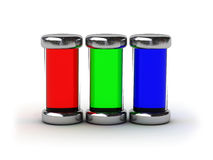 Containers filled by RGB ink. (image can be used for printing or web Stock Photos