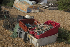 Containers of fishing equipment Royalty Free Stock Images