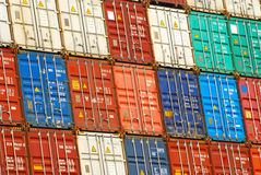 Containers. Freight shipping containers at the docks Stock Images