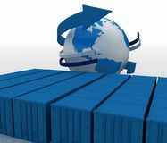 Containers with globe Royalty Free Stock Image