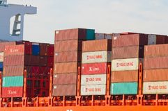 Containers on the Hamburg Sud ship `Santa Barbara`. Alameda, CA - March 9, 2015:Oakland Container Shipyard, San Francisco Bay, the Hamburg Sud ship `Santa Stock Photos