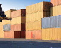 Containers in harbor. Colorful containers stacked in harbor park Royalty Free Stock Images