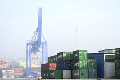Containers at harbor Royalty Free Stock Photography