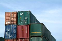 Containers in harbor Royalty Free Stock Photos