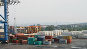 Containers harbour Copenhagen stock footage
