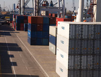 CONTAINERS ON HARBOUR Royalty Free Stock Photo