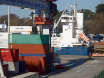 CONTAINERS ON HARBOUR Royalty Free Stock Photography