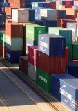 CONTAINERS ON HARBOUR VERTICAL Royalty Free Stock Photo