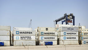 Containers at the Hutchison Ports Ajman. Stock Image
