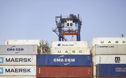 Containers at the Hutchison Ports Ajman. Royalty Free Stock Photos