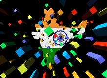 Containers and India map flag Royalty Free Stock Image