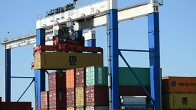Containers at Inland Port Greer moved with gantry canes stock video