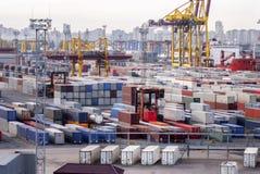 Containers, lading, het verschepen Stock Afbeelding