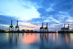 Containers loading at sea trading port Royalty Free Stock Photography