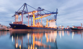 Containers loading Shipping by crane Stock Image