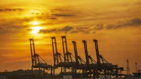 Containers loading shipping crane at morning. The containers loading shipping crane at morning stock photos
