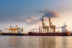 Containers loading terminal and cargo shipping yard.  royalty free stock photo