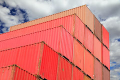 Containers in logistics harbor Royalty Free Stock Images