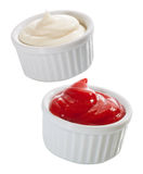 Containers of mayonnaise and tomato ketchup Stock Photography