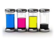 Containers met inkt CMYK Stock Afbeelding
