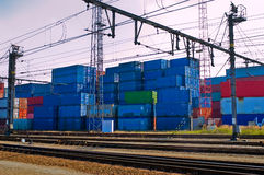 Containers next to railroad Stock Photos