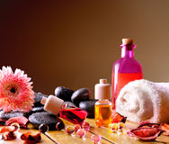 Containers and oil balls for body care square composition Stock Photo