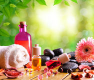 Containers and oil balls and essences for body care.