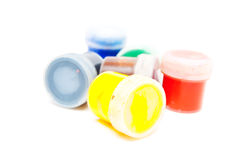 Containers with paint Stock Photos