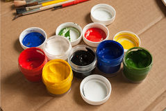 Containers of paint. Stock Images