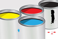 Containers of paint Royalty Free Stock Photography