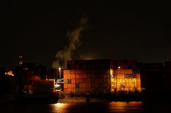 Containers pernis Rotterdam by night Stock Image