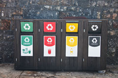 Containers for plastic, glass and other waste. South Africa. Boxes for separate waste collection. Trash. Garbage tank. Waste. Containers for plastic, glass and royalty free stock image