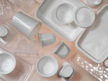 Containers of plastic and polystyrene. On the transparent backgrond Stock Photography