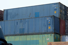 Containers at port. Stack of containers waiting at port for shipment royalty free stock images