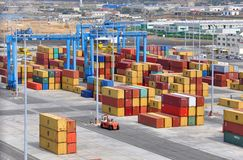 Containers at port. Containers in cargo port, Chivitaveccia, Italy stock images
