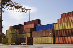 Containers in a port stock photography