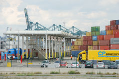 Containers in the port of Antwerp Stock Photography