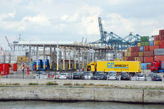 Containers in the port of Antwerp Royalty Free Stock Images