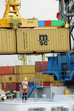 Containers in the port of Antwerp Royalty Free Stock Photo