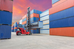 Containers in the port. With beautiful sky stock photography