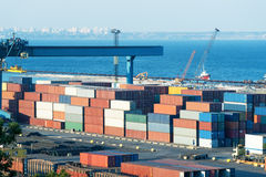 Containers in port at day Royalty Free Stock Photo