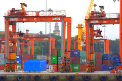 Containers on port dock Royalty Free Stock Photos