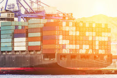 Containers port loading job by crane Trade Port Shipping royalty free stock photography