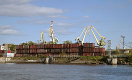 Containers in a port. Containers made of steel unloaded in a harbour port Stock Image