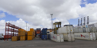 Containers in the port of Montevideo Stock Photography