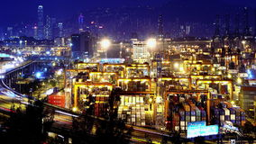 Containers Port Timelapse at Night. Hong Kong. Tig