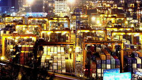 Containers Port Timelapse at Night. Tight Pan Shot stock video