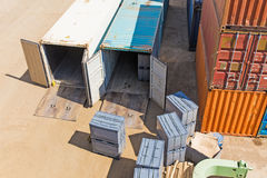 Containers in the port Stock Photos