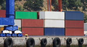 Containers in a port Stock Photos
