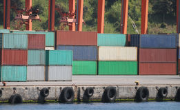 Containers in a port Royalty Free Stock Photography